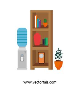 isolated house place with shelving scene