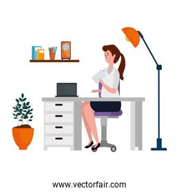 woman in office workplace scene with laptop