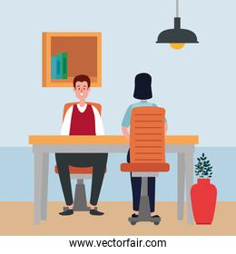 couple in office workplace scene icons
