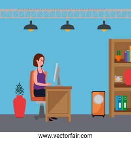 woman in office workplace scene with desktop