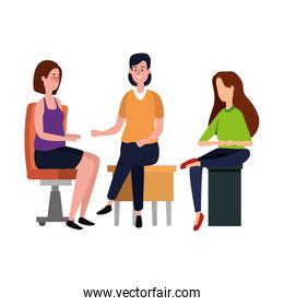 elegant business people workers seated in office chairs