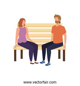 young lovers couple seated in park chair characters