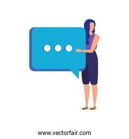 young woman with speech bubble character