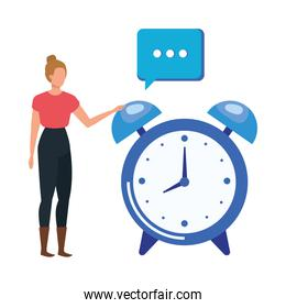 young woman with alarm clock character