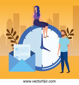 couple with time clock and envelope