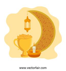 golden chalice cup with lamp hanging and moon