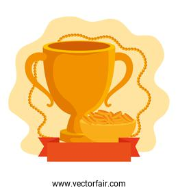 golden chalice cup with dish and coins isolated icon