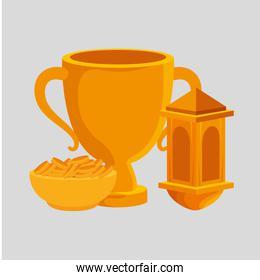 golden chalice cup with dish and coins