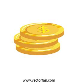 coins money dollars isolated icons