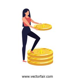 young woman with coins money character