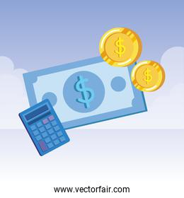 coins and bills money dollars with calculator