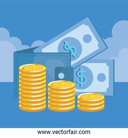 coins and bills money dollars with wallet