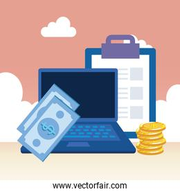 coins money dollars with laptop and clouds