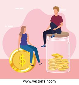 young couple with coins money in mason jar