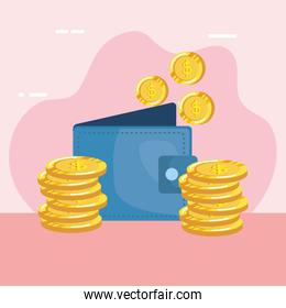 coins money dollars with wallet