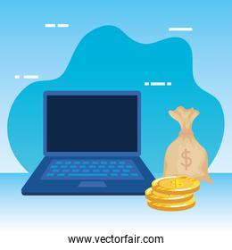 coins money dollars with laptop and sack