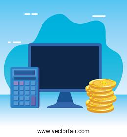 coins money dollars with desktop and calculator