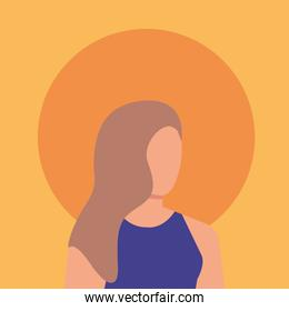 beauty woman with orange background
