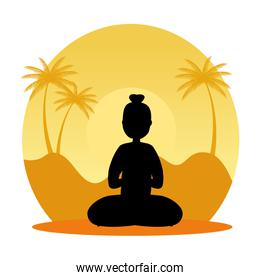 silhouette of woman practicing pilates with lotus position on sunset scene