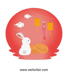 cute and little rabbit with chinese lamps hanging