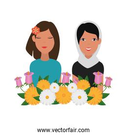 islamic women group with traditional burka and floral decoration