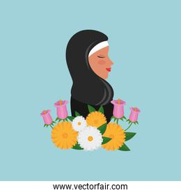 profile of islamic woman with traditional burka and garden flowers