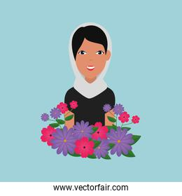 islamic woman with traditional burka and garden flowers