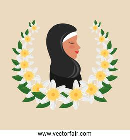 profile of islamic woman with traditional burka in floral wreath