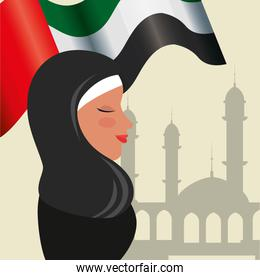 profile of islamic woman with traditional burka and arabia flag in mosque