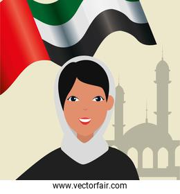 islamic woman with traditional burka and arab flag in mosque
