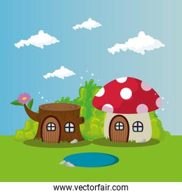 fungus with tree house in scene fairytale