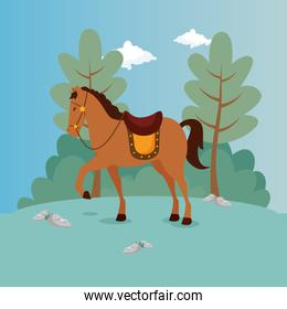 horse of prince in landscape