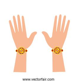 hands with bohemian style bracelets