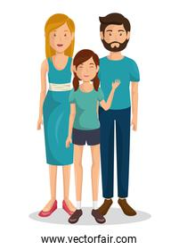 Couple of young parents with daughter