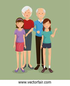 Couple of grandparents with granddaughter