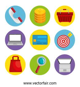 Shopping related objects icons