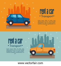 Rent a car infographic cards