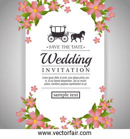 vintage wedding invitation with floral elements