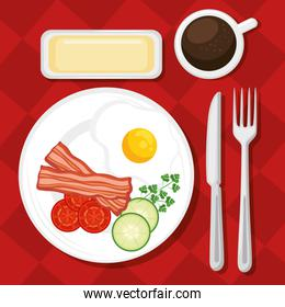 breakfast concept with food and drinks