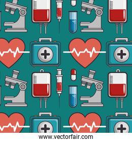 seamless pattern with medical elements