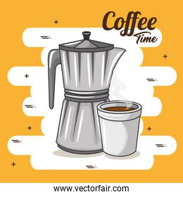 coffee maker and cup of coffee design