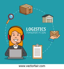 logistic manager infographic delivery cargo
