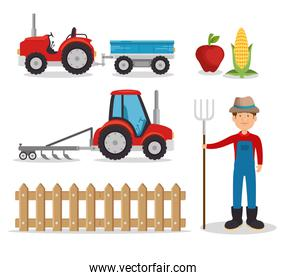 isolated agriculture and farming icon set