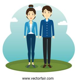 asian couple standing design