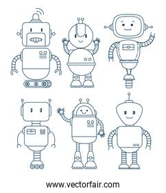 black and white set of cute cartoon robots technology