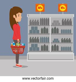 people shopping at the supermarket with offer
