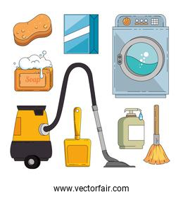 household supplies and cleaning flat icons