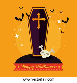 wooden coffin with a cross happy halloween