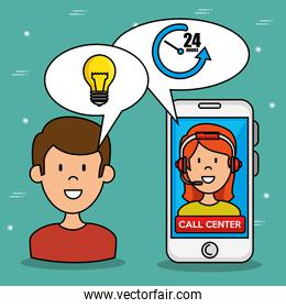 Man and woman speaking by phone call center service