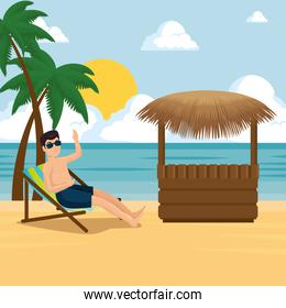man relaxing on the beach design